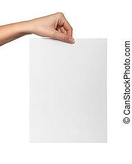 blanco, papel, asimiento, mano femenina