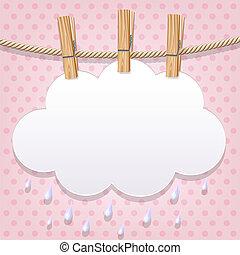 blanco, papel, clothesline, nube