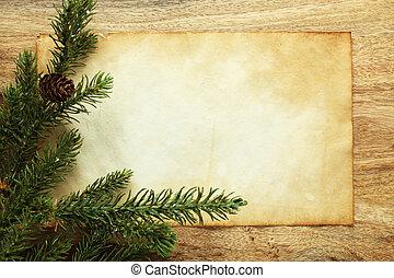 blanco, papel, con, decoraciones de navidad