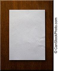 blanco, papel, en, madera