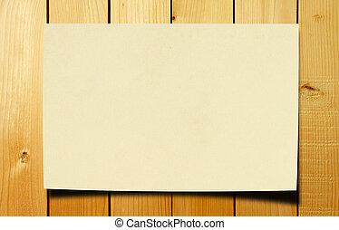blanco, papel, en, madera, tabla