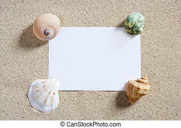 blanco, papel, espacio de copia, verano, arena de la playa,...