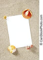 blanco, papel, espacio de copia, verano, arena de la playa, vacaciones