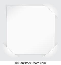 blanco, papel, hoja, bolsillos, montado