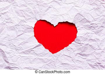 blanco, papel roto, en, forma corazón, símbolo