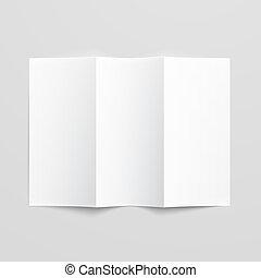 blanco, papel, trifold, brochure.