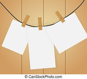 blanco, papeles, alfiler, ropa