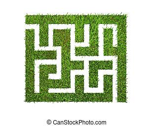 blanco, pasto o césped, verde, aislado, laberinto