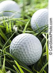 blanco, pasto o césped, verde, puro, golfball
