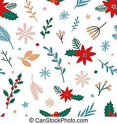 blanco, pattern., seamless, bayas, flor de nochebuena, ...