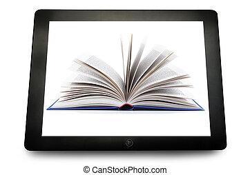 blanco, pc, tableta, computadora, con, libro, abierto, en, el, blanco