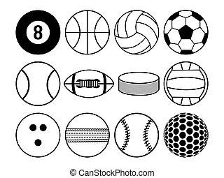 blanco, pelotas, negro, deportes