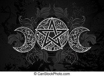 blanco, pentagram, hojas