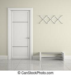 blanco, percha, puerta, vestíbulo
