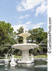 blanco, piedra, fuente, en, forsyth, parque