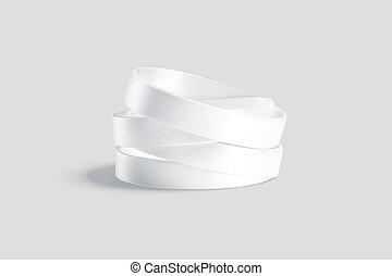 blanco, pila, mockup, blanco, silicona, wristband, fondo gris