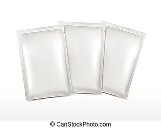 blanco, plástico, conjunto, cosméticos, paquete