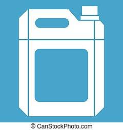 blanco, plástico, jerry, lata, icono
