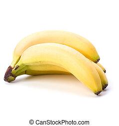 blanco, plátanos, plano de fondo, aislado