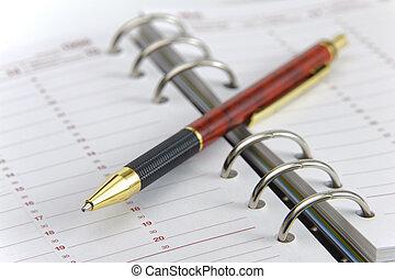blanco, planificador, empresa / negocio, tiempo