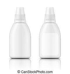 blanco, plantilla, botella, plástico