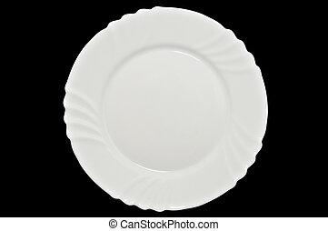 blanco, plato., aislado, en, fondo negro