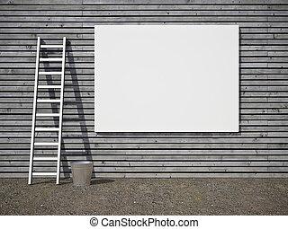 blanco, publicidad, cartelera, en, pared