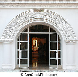 blanco, puerta, arco, clásico