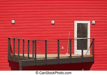 blanco, puerta, paredes, rojo