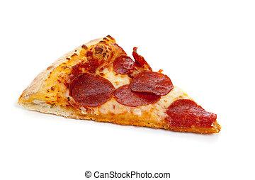blanco, rebanada, pizza salchicha