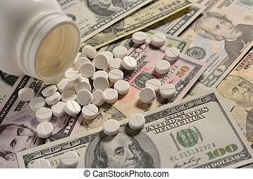 blanco, redondo, medicina, tabletas, en, dinero