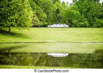 blanco, reflejar, lago, limusina