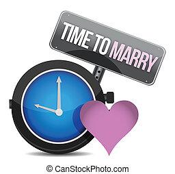 blanco, reloj, con, palabras, tiempo, a, casar