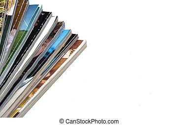 blanco, revistas, pila, plano de fondo