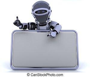 blanco, robot, señal