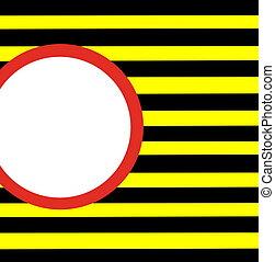 blanco rojo, círculo, en, y, amarillo y negro, peligro, rayas
