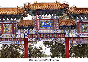 blanco rojo, florido, puerta, palacio de verano, beijing, china