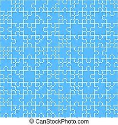 blanco, rompecabezas, pedazos, en, azul, seamless, patrón