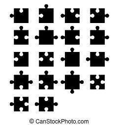 blanco, rompecabezas, rompecabezas, partes, constructor