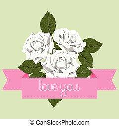 blanco, rosas, con, cinta rosa