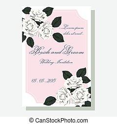 blanco, rosas, invitación boda
