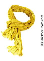 blanco, scarft, aislado, amarillo, algodón