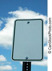 blanco, señal de tráfico, contra, un, cielo azul, y, nubes