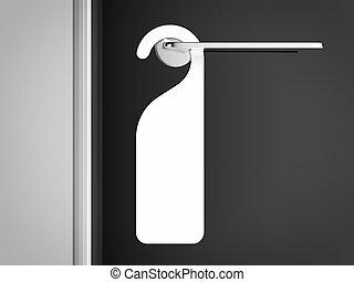 blanco, señal, en, el, moderno, manija, de, door., 3d,...