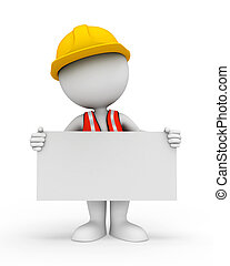 blanco, señal, trabajador, 3d, gente