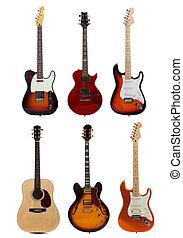 blanco, seis, grupo, guitarras, plano de fondo
