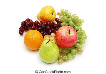 blanco, selección, vario, aislado, fruits