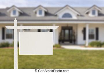 blanco, signo bienes raíces, delante de, casa nueva