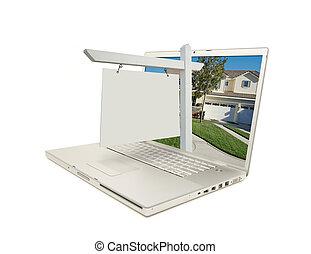 blanco, signo bienes raíces, y, computador portatil