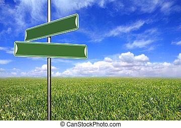 blanco, signos direccionales, en, un, abierto, campo